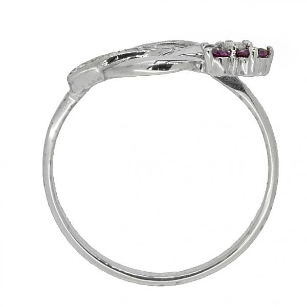 Ювелирное кольцо из серебра 925 пробы с рубинами и фианитами RCzR-6488Ag